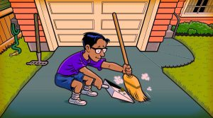 Boy sweeping