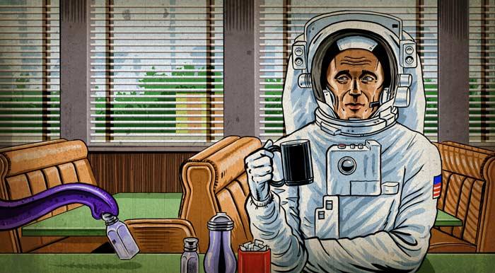 Astronaut in diner