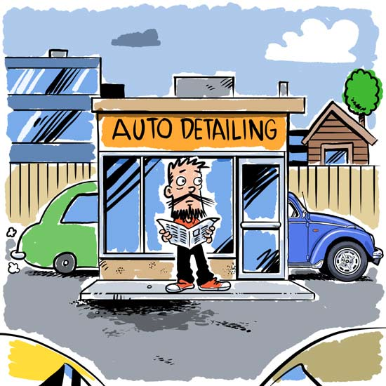 Comic of automobile detailing