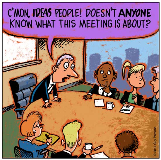 Boardroom office cartoon about ideas