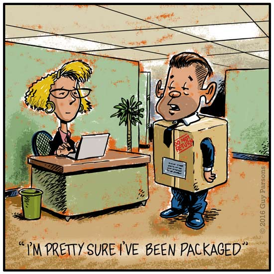 Cartoon of person getting packaged at work