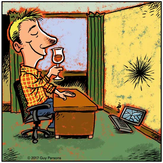 Man drinks wine after destroying his computer cartoon
