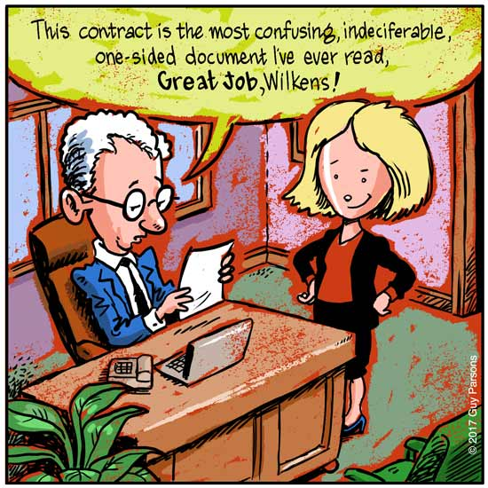 Business cartoon about contracts