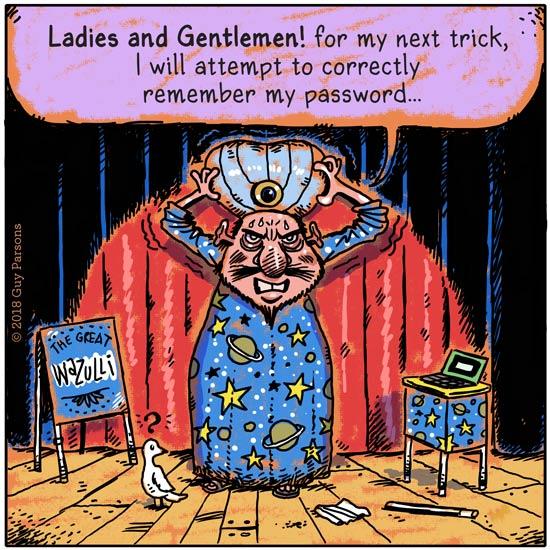 Magician remembering password cartoon