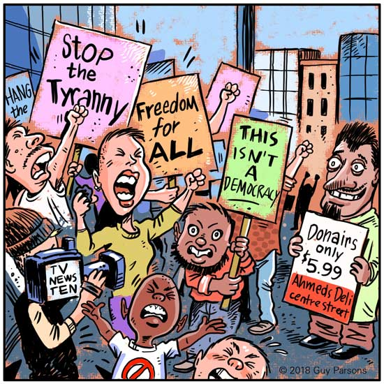 Protest march cartoon